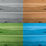 Grunge plank wood texture background. Collage of wooden surfaces. Four different colors Royalty Free Stock Image