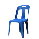 Grunge plastic blue chair isolated on white royalty free stock images