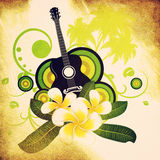Grunge plumeria flowers and guitar. Grunge musical background with white plumeria flowers and guitar Stock Images