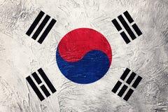 Grunge Południowego Korea flaga Południowego Korea flaga z grunge teksturą Zdjęcie Stock