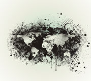 Grunge Political World Map with Ink Blots Brush Texture. On White Background Stock Images