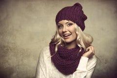 Grunge portarit of blond winter girl Royalty Free Stock Photo