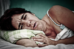 Grunge portrait of sick woman Stock Photo