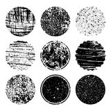 Grunge post Stamps Collection, circles. Banners, logos, Icons, l. Abels and badges set . Vector distressed textures shapes stock illustration