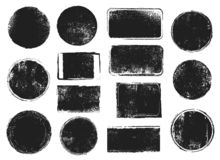 Free Grunge Post Stamps. Round And Rectangular Badges With Distressed Texture. Scratched Blank Rubber Seal Stamp Vector Royalty Free Stock Photos - 159803268