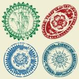 Grunge postcard stamp set. (CMYK Stock Image