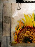 Grunge postcard with sunflower 3 Stock Images