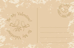 Grunge postcard for valentines day - be my valentine - eps Stock Photos