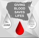 Grunge postcard world blood donor day Vector Illustration