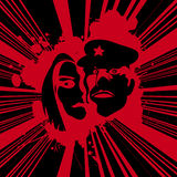 Grunge poster art. Grunge background with couple in red Stock Image
