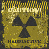 Grunge poster Caution! Radioactive. Stock Image