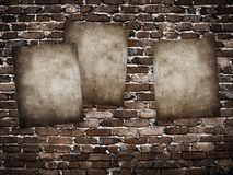 Grunge posters on brick wall stock illustration