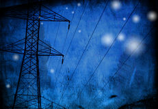 Grunge Power Lines Stock Photography