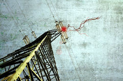 Grunge power pylon Stock Images