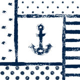 Grunge printed anchor silhouette in a patterned frame, marine vector illustration Royalty Free Stock Images