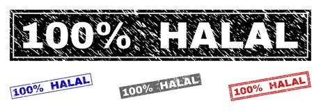 Grunge 100 procentów prostokąta znaczka HALAL Textured foki ilustracja wektor