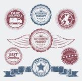 Grunge promo badges stock illustration