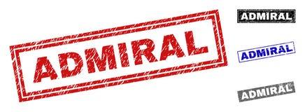Grunge prostokąta znaczka ADMIRAL Textured foki royalty ilustracja