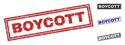 Grunge prostokąta znaczka bojkot Textured foki ilustracji
