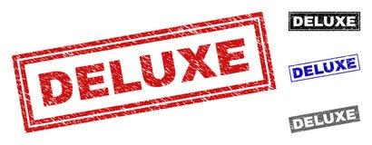 Grunge prostokąta znaczka LUKSUSOWE Textured foki ilustracja wektor
