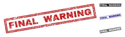 Grunge prostokąta DEFINITYWNY ostrzeżenie Drapający znaczki royalty ilustracja