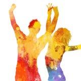 Grunge przyjęcia ludzie z watercolour projektem ilustracji
