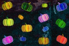 Grunge psychedelic Pumpkins Background Royalty Free Stock Image