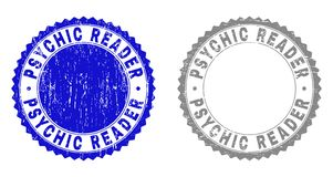 Grunge PSYCHIC READER Textured Stamps. Grunge PSYCHIC READER stamp seals isolated on a white background. Rosette seals with grunge texture in blue and grey vector illustration