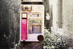 Grunge public phone booth Stock Photos