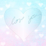 Grunge puprle blue heart badge Stock Photos
