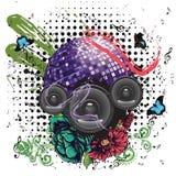 Grunge Purple Disco Ball Stock Images