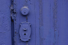 Grunge Purple Painted Door stock photography