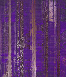 Grunge purple wood scroll print Stock Image