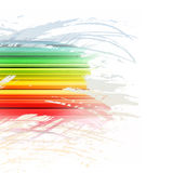 Grunge rainbow brush stroke with stripes on white Royalty Free Stock Photo