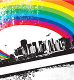 Grunge Rainbow City Stock Image