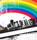 Grunge Rainbow City. This is a Grunge Rainbow City Stock Image
