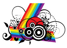Grunge Rainbow Design. A Rainbow Background Illustration with color and black & white Stock Image