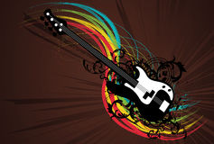 Grunge Rainbow Guitar. Vector Illustration Stock Photography