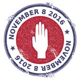 Grunge raised hand rubber stamp. USA presidential election patriotic seal with raised hand silhouette and November 8, 2016 text. Rubber stamp vector Stock Photo