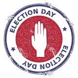 Grunge raised hand rubber stamp. USA presidential election patriotic seal with raised hand silhouette and Election Day text. Rubber stamp vector illustration Royalty Free Stock Image