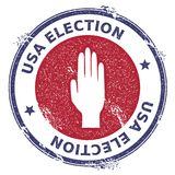 Grunge raised hand rubber stamp. USA presidential election patriotic seal with raised hand silhouette and USA Election text. Rubber stamp vector illustration Royalty Free Stock Image