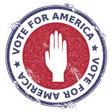Grunge raised hand rubber stamp. USA presidential election patriotic seal with raised hand silhouette and Vote For America text. Rubber stamp vector Stock Images