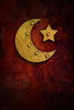 Grunge ramadan card with moon and star Royalty Free Stock Photography