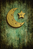 Grunge ramadan card with moon and star Royalty Free Stock Image