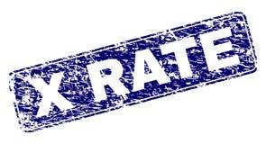 Grunge X RATE Framed Rounded Rectangle Stamp vector illustratie