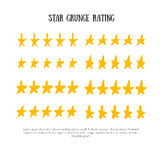 Grunge rating 5 star rating icon set vector illustration. Isolated success ranking in row for website or app hand drawn Royalty Free Stock Photos