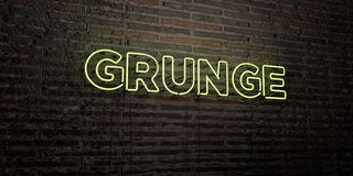 GRUNGE -Realistic Neon Sign on Brick Wall background - 3D rendered royalty free stock image Stock Photography