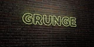 GRUNGE - Realistisch Neonteken op Bakstenen muurachtergrond - 3D teruggegeven royalty vrij voorraadbeeld Stock Fotografie