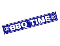 BBQ TIME Scratched Rectangle Stamp Seal with Snowflakes stock illustration