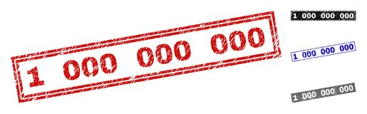Grunge 1 000 000 000 Scratched Rectangle Stamp Seals royalty free illustration